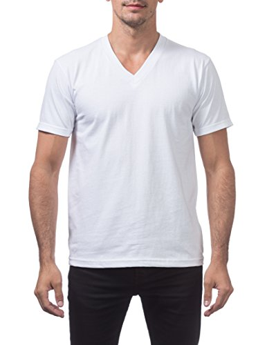 White T-shirt Club (Pro Club Men's Heavyweight V-Neck T-Shirt, X-Large, Snow White)