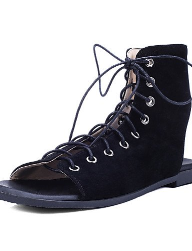 LFNLYX Zapatos de mujer-Tacón Plano-Punta Abierta / Talón Descubierto / Tira en el Tobillo-Sandalias-Exterior / Vestido-Microfibra-Negro / Marrón Brown