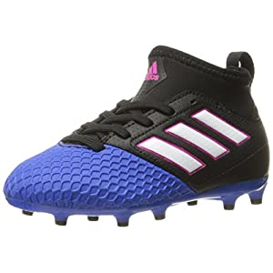 adidas Performance Kids' Ace 16.4 Firm Ground J Soccer Cleat, Black/White/Blue, 2 M US Little Kid