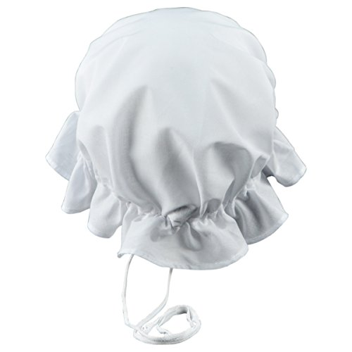 [Colonial Amish Mob Cotton Hat Womens White Bonnet Poor Girl, Maid, or Pilgrim Costume] (Maid Hat)