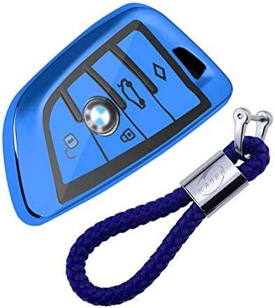Bleu Cover Housse TPU Souple en Chrome pour T/él/écommande Keyless BMW Serie 1 3 5 7 X1 X3 X4 X5 F30 E30 Porte-cl/é Protection Coque en Silicone pour Cl/é BMW