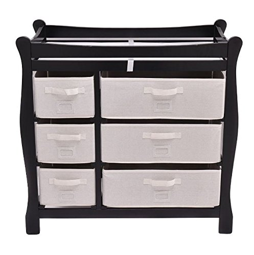 K&A Company Sleigh Style Baby Changing Table Diaper 6 Drawer Storage Nursery Basket in Black by K&A Company