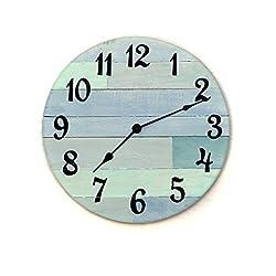 Rustic Beach Wall Clock - 16 diameter with Arabic numbers - handmade beach house clock, beach house decor