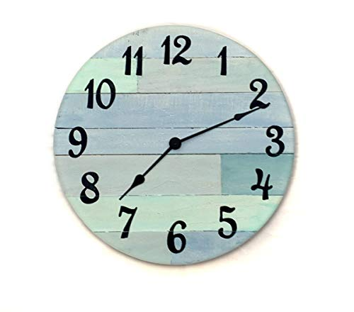 Rustic Beach Wall Clock – 16″ diameter with Arabic numbers – handmade beach house clock, beach house decor Review