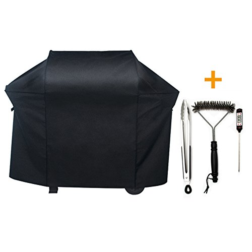 NEXTCOVER Premium Gas Grill Cover,58''600D Fade Resistant BBQ Grill Cover for Weber,Char Broil,Holland,Jenn Air,Brinkmann-Black,Including Grill Brush,Tongs and Cooking Thermometer. N21G805A