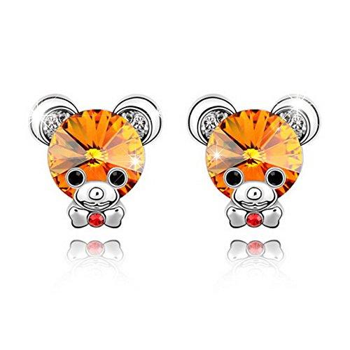 - Alvdis Premium Teddy Bear Shaped Copper Crystal Earrings - Genuine Swarovski Crystal Elements Pendant