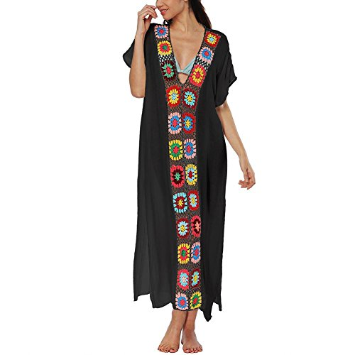 Short Wear Neck Dresses Hollow Long Black Backless Out Sling Cover Printed Womens V Sleeve Beach up Daxin Dress gYPxEP