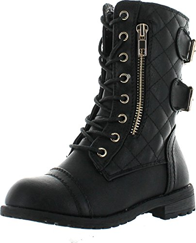 JJF Shoes Mango-79 Kids Black Combat Lace Up Quilted Dual Buckle Zip Decor Mid Calf Motorcycle Boots-4 ()