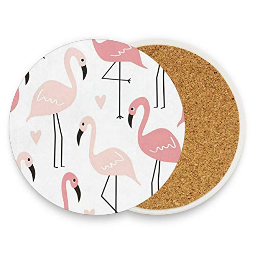 Cute Pink Flamingos Coasters, Protect Your Furniture From Stains,Coffee, Drink Coasters Funny Housewarming Gift,Round Cup Mat Pad For Home, Kitchen Or Bar Set Of 4