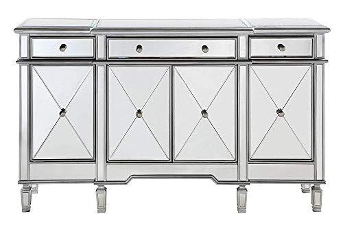 Elegant Lighting 3 Drawer 4 Door Cabinet in Silver Clear 60 x 14 x 36