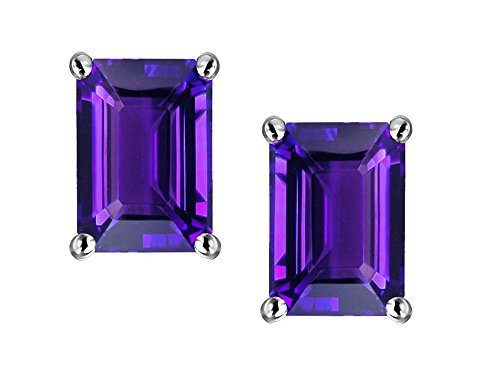 Star K Emerald Cut 7x5mm Genuine Amethyst Earrings Studs 14 kt White Gold