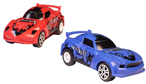 Pull-Back Car Toys - 2-Pack | Also Compatible with Track Builder | Extra Die-Cast Toy Vehicles for Kids (Boys & Girls) | Manually Charged Spring Race Cars (Spring)| Blue & Red Plastic]()
