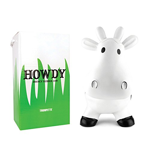 Trumpette Howdy Cow Kids Inflatable Bouncy Rubber Hopper Ride-On Toy White (Infant Bouncy Toy)