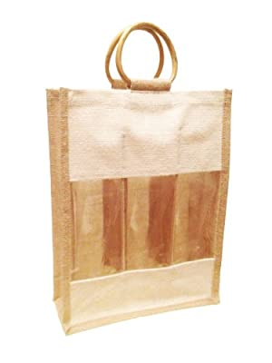 "Natural Color Jute Burlap 3 Bottle Wine Carry Bag with front window and with cane handles size 11""W x 14"" x 4""Gusset Eco-friendly Reusable Bag wine tote bag - Memorial Day Week Sale"