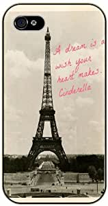 "LJF phone case iPhone 6 (4.7"") Vintage Paris, Eiffel tower - A dream is a wish your heart makes . Cinderella - black plastic case / Life and dreamer's quotes"