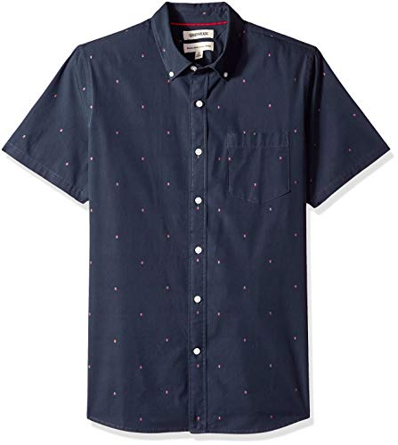 - Goodthreads Men's Standard-Fit Short-Sleeve Dobby Shirt, -navy arrow, Small