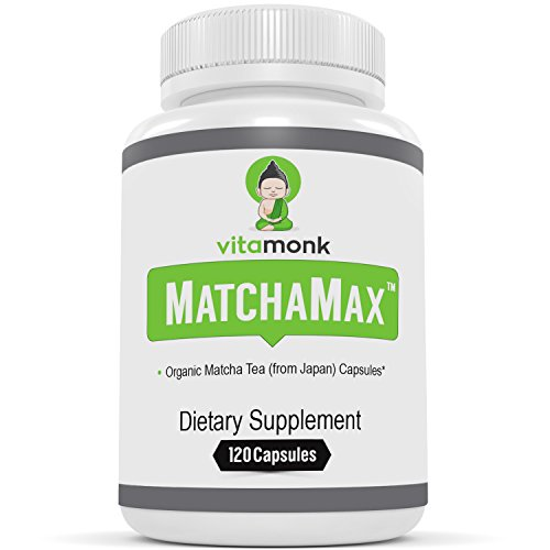 MATCHAMAXTM Organic Japanese Matcha Capsules - VitaMonkTM Supplements for Smooth Zen-Like Energy & Stress Relief with Pills of Pure Matcha Green Tea Powder from Japan - Natural Vegan Matcha Supplement