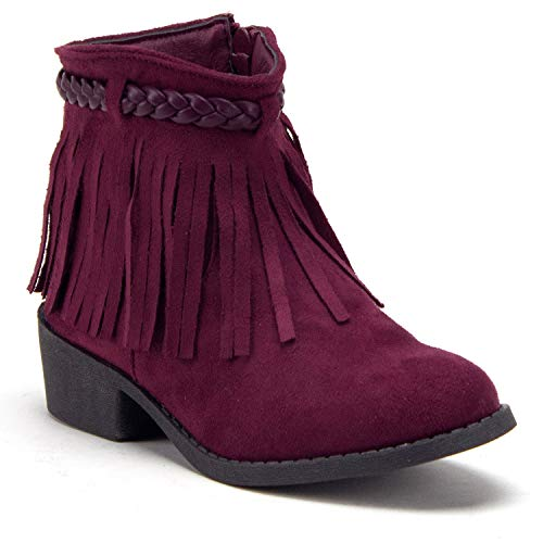 (Jazame Little Kids' Girls Ankle High Booties Zipped Fashion Western Boots (3 M US Little Kid, Red))