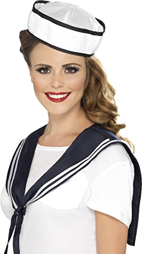 Womens Sailor Hat (Smiffy's Sailor Instant Kit, White/Blue, One Size)