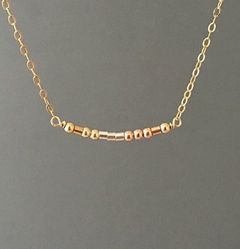 Custom Small Bar Gold Fill Morse Code Necklace also in Silver and Rose Gold