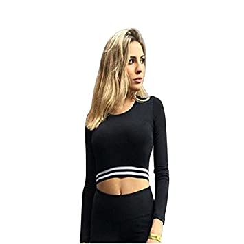 Clearance!HOSOME Women Top Womens Summer Autumn Women Long Sleeve Stripe Sport Gym Casual Blouse