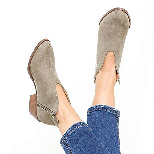 8e562cc71582 Women Low Heel Ankle Booties Slip On Suede Chunky Block Round Toe Ankle  Boots by Lowprofile