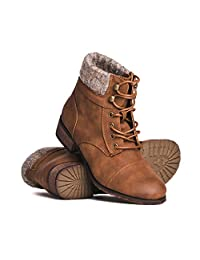 DLG Izzy Womens Vegan Leather Lace up Boot with Leather Stacked Heel & Lug Tread Rubber Sole