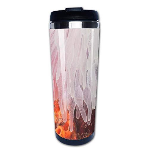 Anemone Bubble - Portable Stainless Steel Insulated Coffee Travel Cup Mug,White Bubble Tip Anemone Lembeh Strait North Sulawesi Indonesialeak-proof flip cover keeps hot or cold 13.6 oz (400 ml)