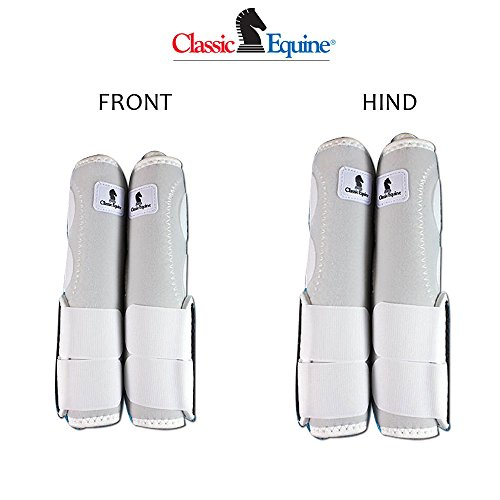 S- 4 PACK WHITE CLASSIC EQUINE LEGACY SYSTEM HORSE FRONT REAR HIND SPORT BOOT by Classic Equine