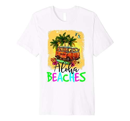 Womens Vintage Aloha Beaches Sand Lei Surfing Hawaii Tshirts