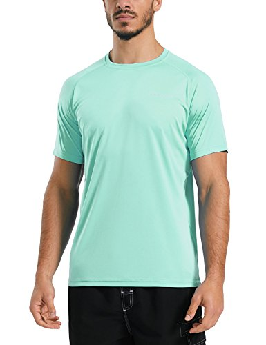 Baleaf Men's UPF 50+ Outdoor Running Workout Short-Sleeve T-Shirt Light Green Size (Green Workout T-shirt)