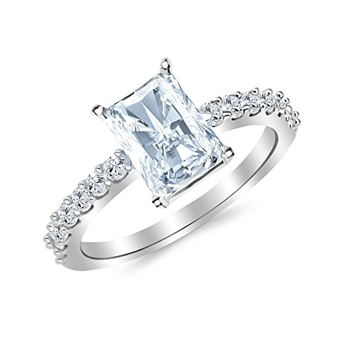 1 Carat 14K White Gold Classic Side Stone Prong Set Radiant Cut GIA Certified Diamond Engagement Ring (0.5 Ct D Color VVS1 Clarity Center Stone) (Radiant Cut Three Stone Diamond Engagement Rings)