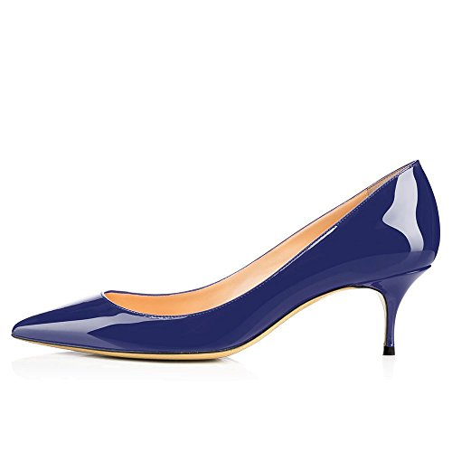 Kmeioo Pumps for Women, Women's Slip On Kitten Heels Pointed Toe Low Heels Office Pumps-Navy Blue 8M