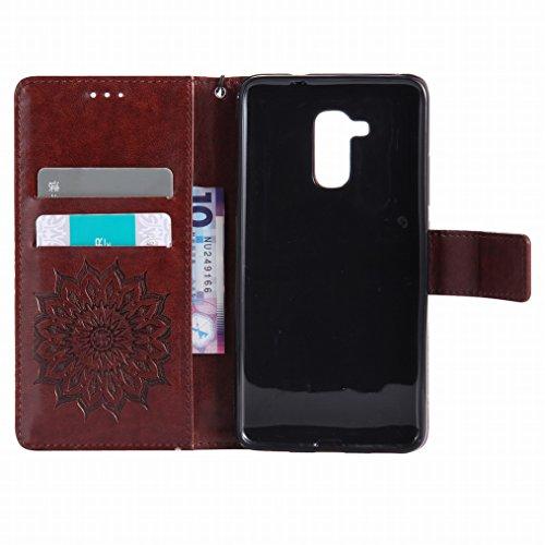 LEMORRY Huawei Honor 5c Custodia Pelle Cuoio Flip Portafoglio Borsa Sottile Bumper Protettivo Magnetico Morbido Silicone TPU Cover Custodia per Huawei Honor 5c, Fiorire Marrone