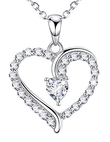 Dorella You are The Only One Love Heart Necklace for Women Simulated Diamond Swarovski Jewelry Birthday for Her for Daughter for Girlfriend Sterling Silver 18