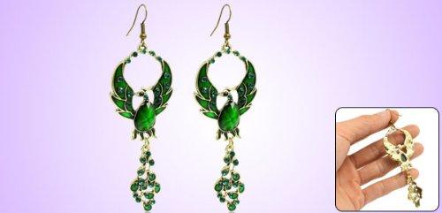 Lady Pair Green Plastic Crystal Decor Phoenix Birds Pendant Hook Earrings
