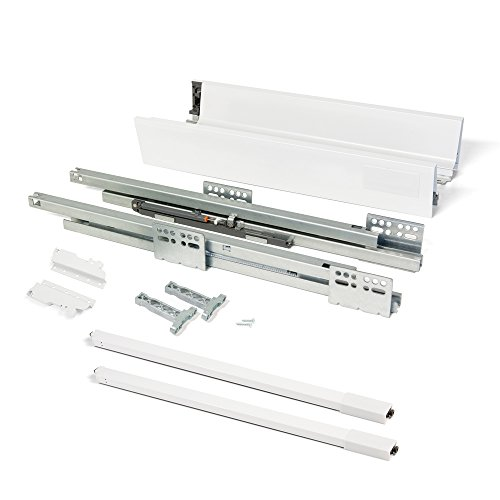 EMUCA - Kit de cajón para Cocina o baño con guias de extracción Total y Cierre Suave, Altura 141mm y Profundidad 450mm, Blanco