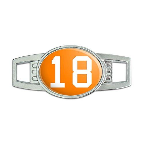 Number 18 Orange Shoelace Decoration