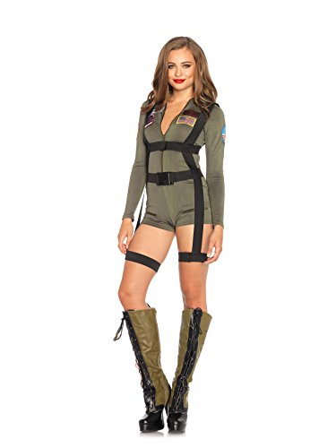 Leg Avenue Women's Top Gun Romper Costume, Khaki, Small (Military Halloween Costumes For Womens)
