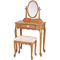 1PerfectChoice 3 Piece Queen Ann Vanity Makeup Table Mirror Set, 1 Drawer Carved, Apron Oak Finish