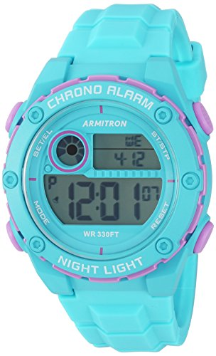 Armitron Sport Women's 45/7084LBL Lavender Accented Digital Light Blue Silicone Strap Watch