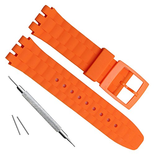 21mm Replacement Waterproof Silicone Rubber Watch Strap Watch Band (Orange)