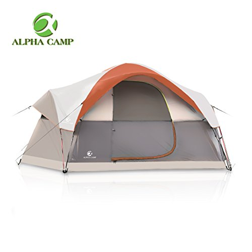 ALPHA CAMP Dome Family Camping Tent 6 Person – Orange 14′ x 10′