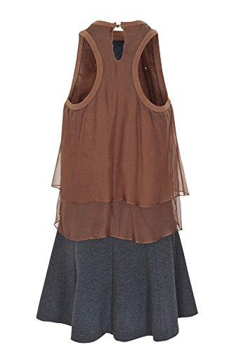 ... Brunello Cucinelli Kleid Damen Braun Einfarbig Seide M IT RG1SWw ... 8a43c1f0d0