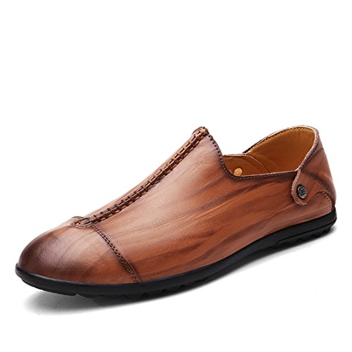(Minotta Men's Cap-Toe Red Brown Leather Loafers Run-Off Shoes US 8)