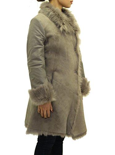 Noir Peau Large Ržversible Mouton Avec De Manteau En Gris Manches Cuir qYCawtUwxc