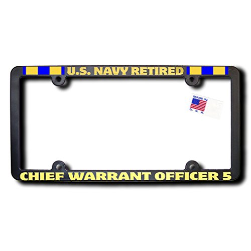US NAVY Retired CHIEF WARRANT OFFICER 5 License Frame w/METALLIC Gold Lettering & Naval Expeditionary ()