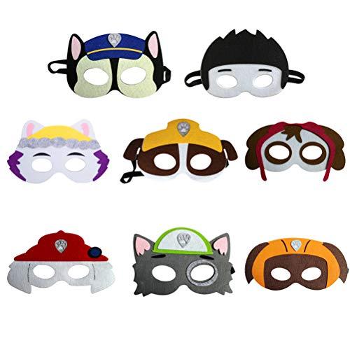 Yeaphy Máscara 8pcs con máscara elástica para niños, Navidad, Halloween, Fiesta, Cumpleaños, Máscaras de Cosplay Favors Half Masks