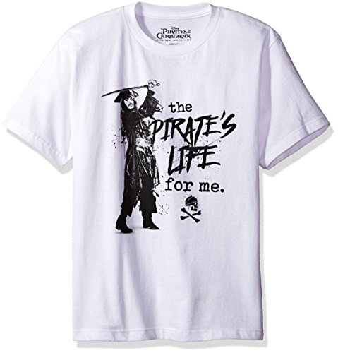 Disney Big Boys' Pirates of the Caribbean T-Shirt, White, S (Pirate Apparel)