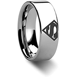 superman symbol super hero polished tungsten engraved ring jewelery 8mm - Superman Wedding Ring